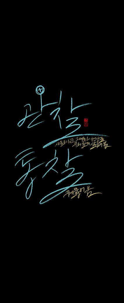 calligraphy_관찰<사물의 있는 그대로의 현상을 주위 깊게 살펴봄>.통찰<꿰뚫어 봄>_머리를 9하라<정철>