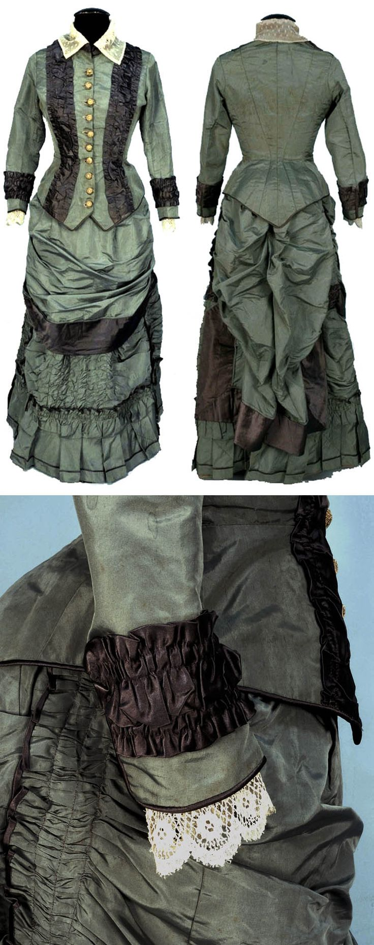 Two-piece sage faille day dress with gray satin bands, 1874. Semi-boned bodice with dorset buttons, stand collar, and lace-trimmed cuffs. Skirt decorated with ruching and pleats. Whitaker Auctions/Live Auctioneers