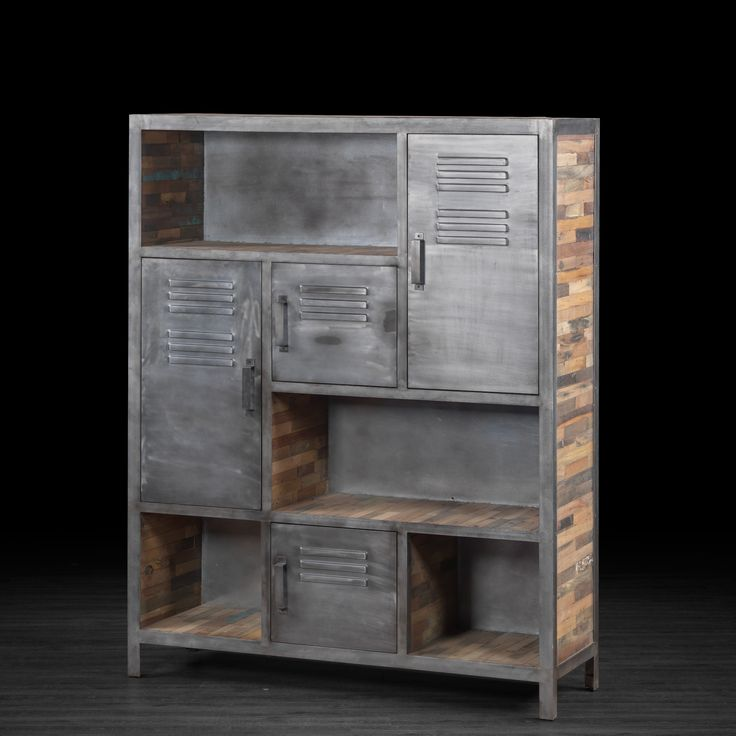 grande biblioth que industrielle en m tal et bois recycl. Black Bedroom Furniture Sets. Home Design Ideas