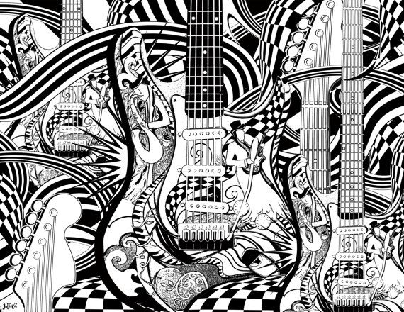 Adult Coloring Page, Printable Guitar Coloring Pages