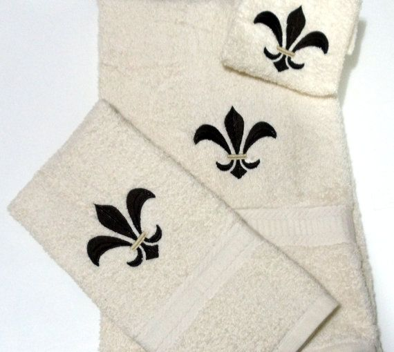 Embroidery Flore De Lis Brown on Cream Bath Towel Hand Towel  Wash Cloth #design #gifts
