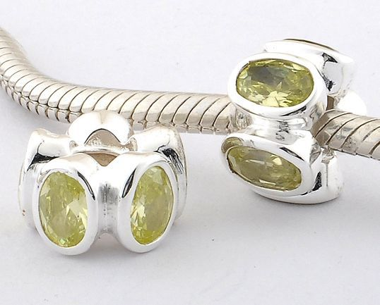 CLLW014A 925 Sterling Silver Chartreuse Zirconia Flower Pandora beads Screwed Core on sale,for Cheap,wholesale