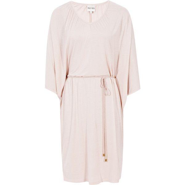 Reiss Smeralda Beach Kaftan Dress ($90) ❤ liked on Polyvore featuring dresses, nude, pink kaftan, pink kaftan dress, draped dress, beach caftan and caftan dresses