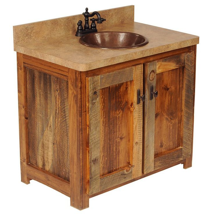 rough sawed rustic wood vanity bathrooms pinterest