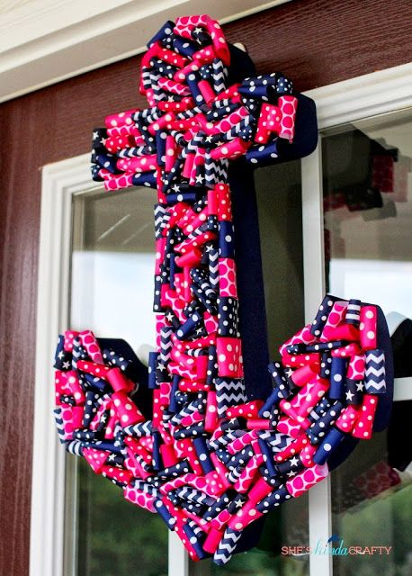 Preppy Pink and Navy Anchor Wreath