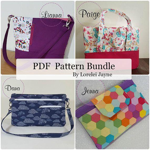 4 PDF Sewing Pattern bundle. Bag wallet and wristlet purse.