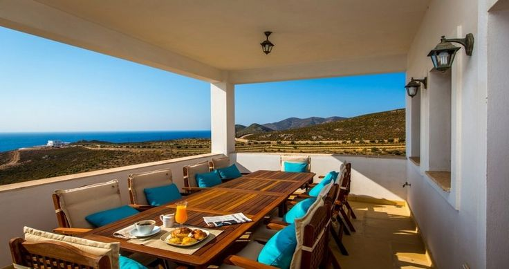 """What a view for a lunch... Check """"Villa Sophias"""" - Patmos, Greece ! You can rent it ! #luxury #villa #rent #holidays #greece #vacances #grece #alouer #aroomwithaview #sea #bedroom #decoration #swimmingpool #beautiful"""