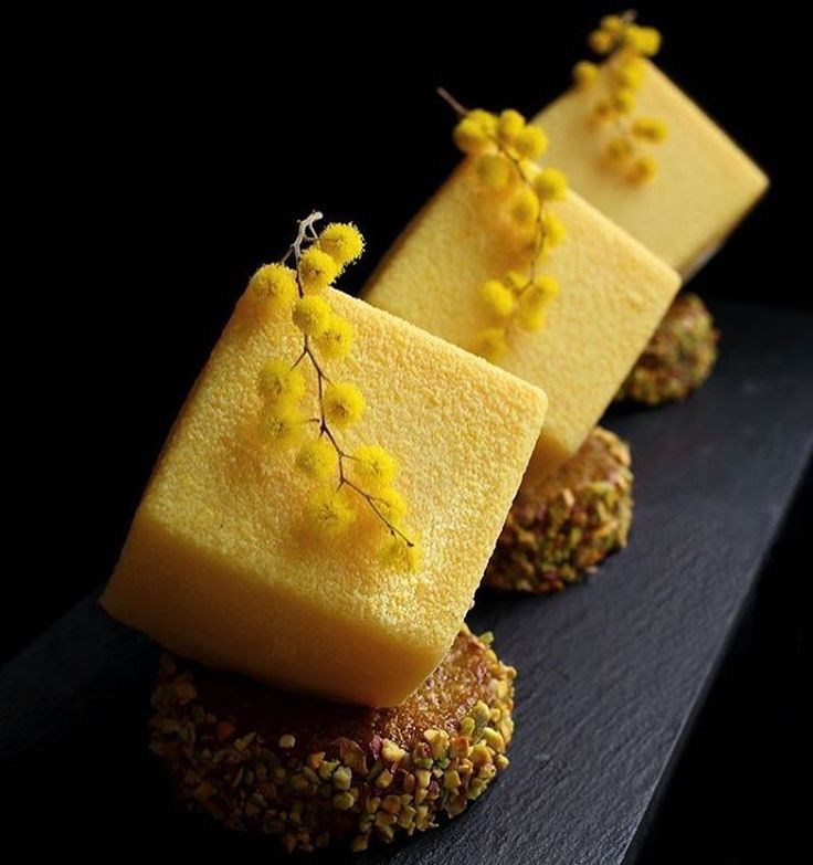 Mandarin Vanilla Pistachio Cubes. Beautiful work by @marijacrow  #DessertMasters