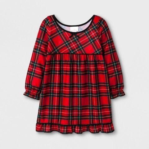 Wondershop Toddler Holiday Plaid Pajama Nightgown - Wondershop Red