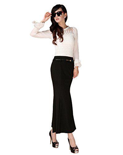 CHENGYANG Femme Maxi Jupe Crayon Longue Taille Haute Élastique Moulant  Soirée Cocktail Jupe (Noir M 4ad0e14d68bc