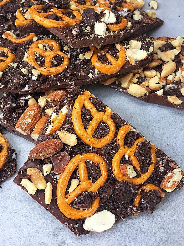 Barras Extrarecargadas de Chocolate, con pretzels, galletas, almendras, maní y mas.....