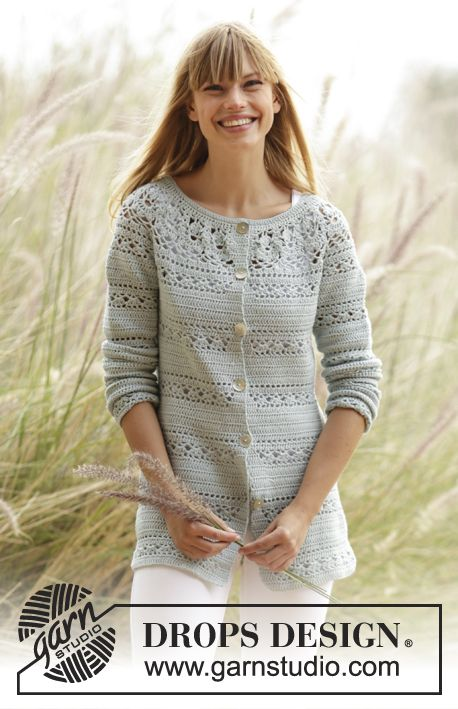 """Crochet DROPS jacket with lace pattern and round yoke in """"Safran"""". The piece is worked top down. Size: S - XXXL. Free pattern by DROPS Design."""