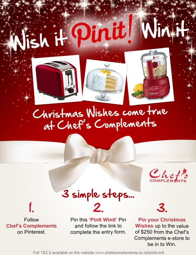 Wishit Pinit Winit this Christmas at with Chef's Complements