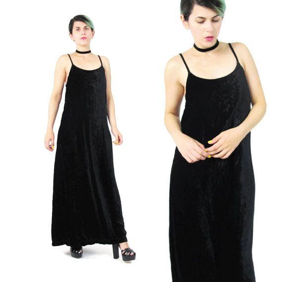 90s Crushed Velvet Maxi Dress Black Velvet Dress by honeymoonmuse