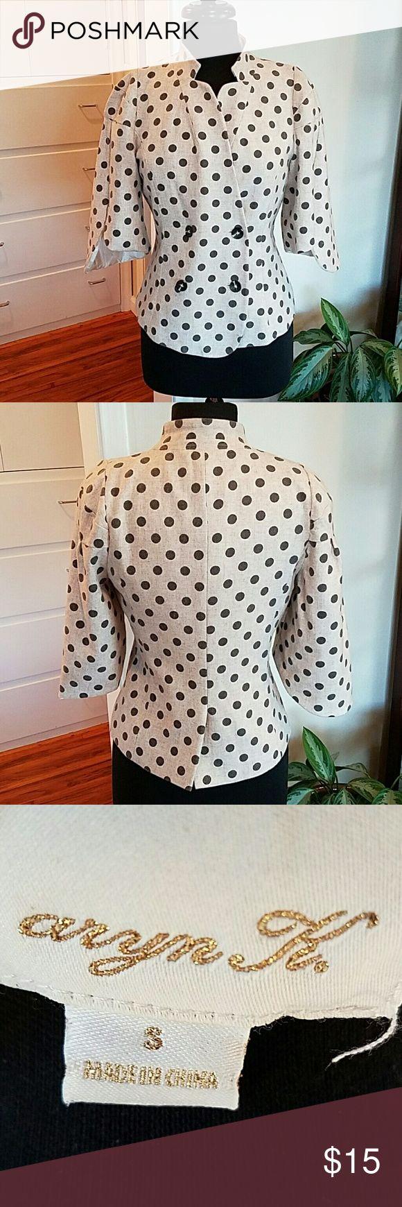 Aryn K. Polka Dot Dressy Jacket The polka dots are gray on a cream background. It has  three-quarter inch sleeves and is so cute! aryn K. Jackets & Coats Blazers
