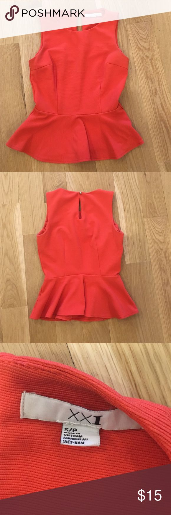 Forever 21 peplum top Gently worn, great condition red peplum top. Forever 21 Tops Camisoles