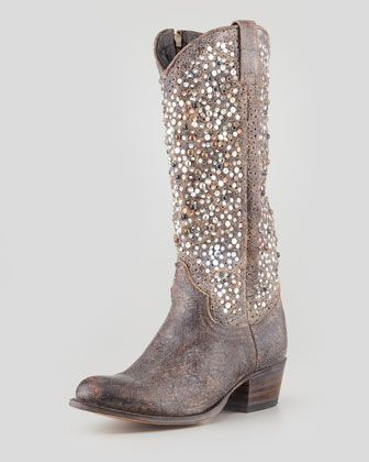 Frye Deborah Studded Vintage Leather Boot, Gray - Neiman Marcus