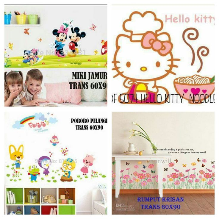 Jual wallstiker murah grosir ecer Hello Kitty Mickey Pororo 60x90 cm ~ Toko Cherish Imut