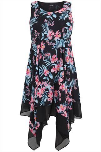 Pink And Blue Sleeveless Oriental Floral Print Hanky Hem Dress