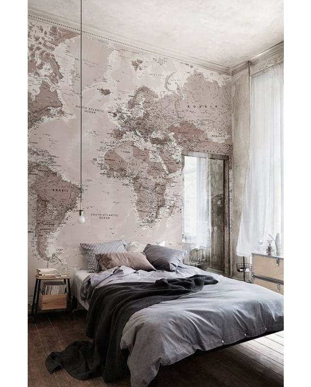 World Map Bedroom  --- via @homeadore_decor --- #bedroom #brick #mural #interior #interiordesign #apartment #decor