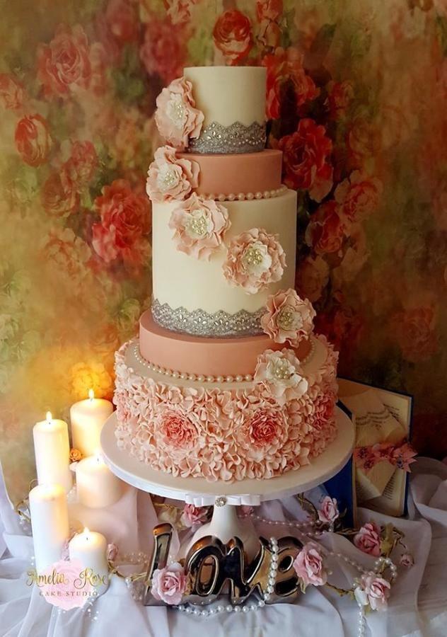 Pink and Ivory ruffle wedding by Amelia Rose Cake Studio - http://cakesdecor.com/cakes/261952-pink-and-ivory-ruffle-wedding
