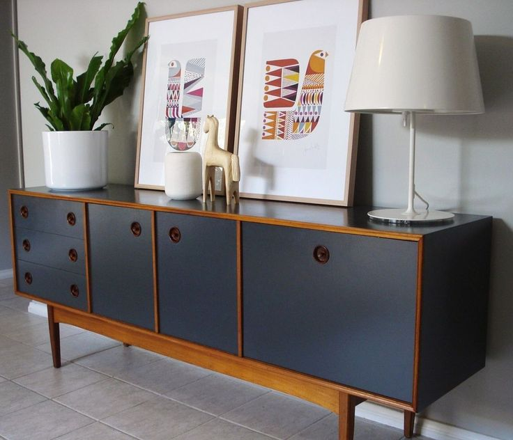 •○• LARGE RETRO UPCYCLED TEAK & CHARCOAL SIDEBOARD •○• DANISH SCANDINAVIAN STYLE