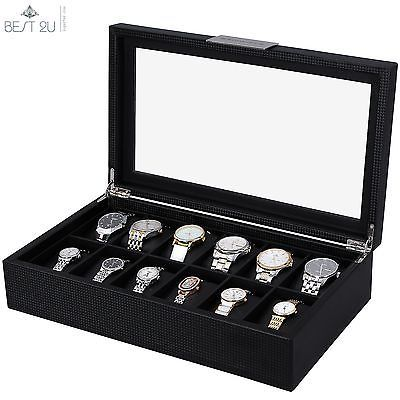 Large 12 Slot Watch Box for Men - Carbon Fiber Design Display Case Holder -Black   Jewelry & Watches, Watches, Parts & Accessories, Boxes, Cases & Watch Winders   eBay!