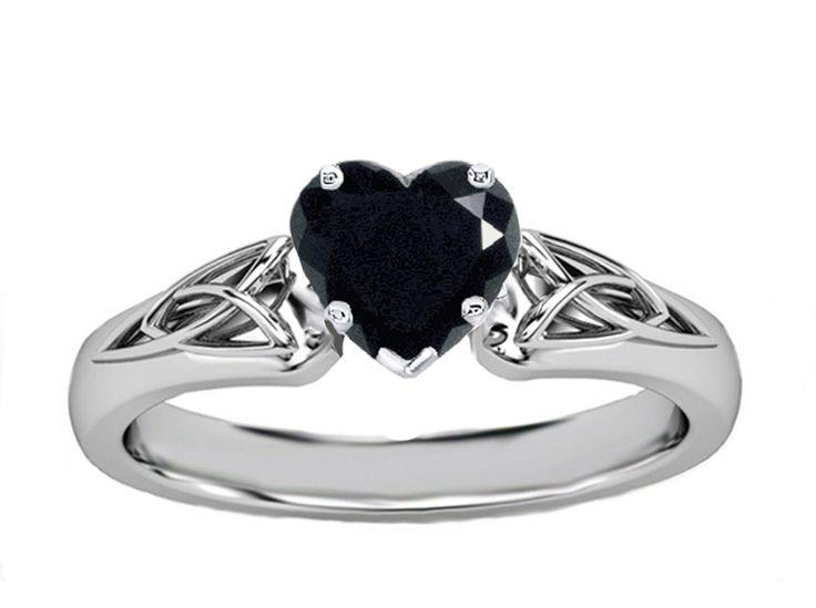 Black Heart Diamond Triquetra Celtic Engagement Ring in 14K White Gold