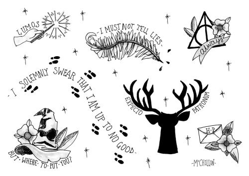 harry potter tattoo flash - Google Search