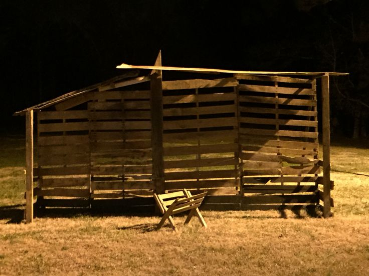 """Stable and manger made from old pallets, this was the place the Savior was born in Bethlehem on our set!  Live Nativity Production titled: """"Journey to Bethlehem"""" December 2015  Sardis Baptist Church, Chattahoochee Hills Ga"""