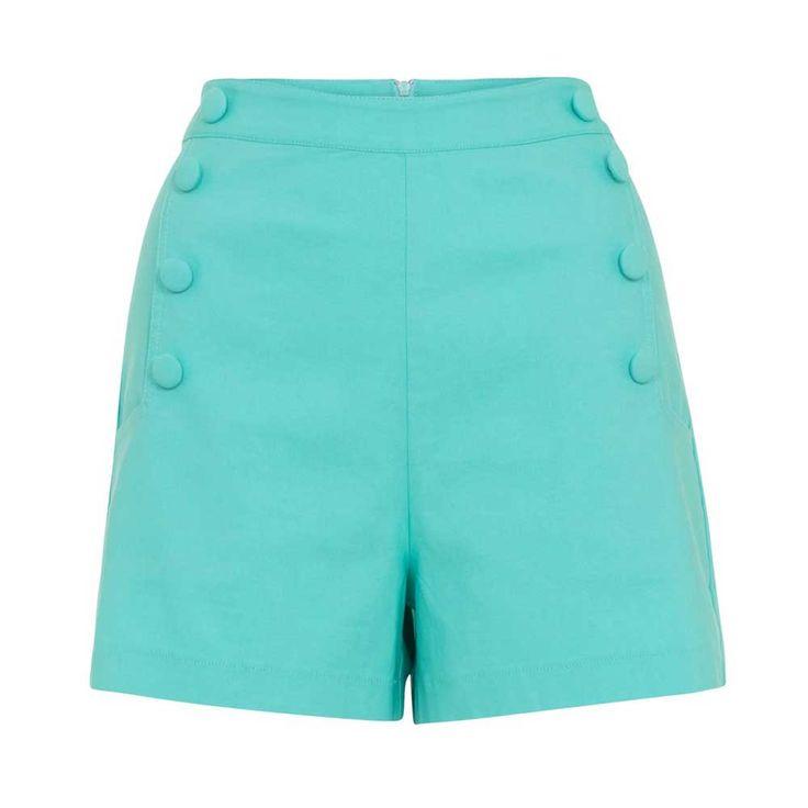 Voodoo Vixen Evie shorts/korte broek met hoge taille groen - Rockabill