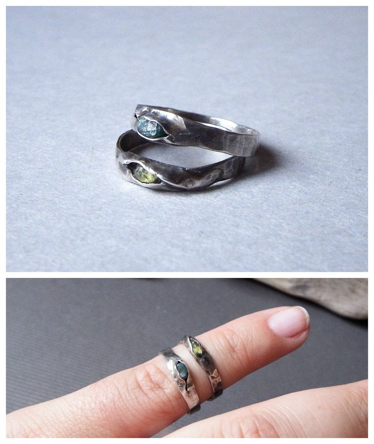 The Seed rings by Alice Savage. Handmade, sterling silver with raw Peridot or raw Emerald. Bohemian, boho, spirit, magic, symbol, love, stackable
