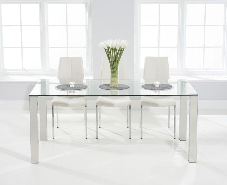 Buy the Sophie 180cm Glass Dining Table with Cavello Chairs at Oak Furniture Superstore
