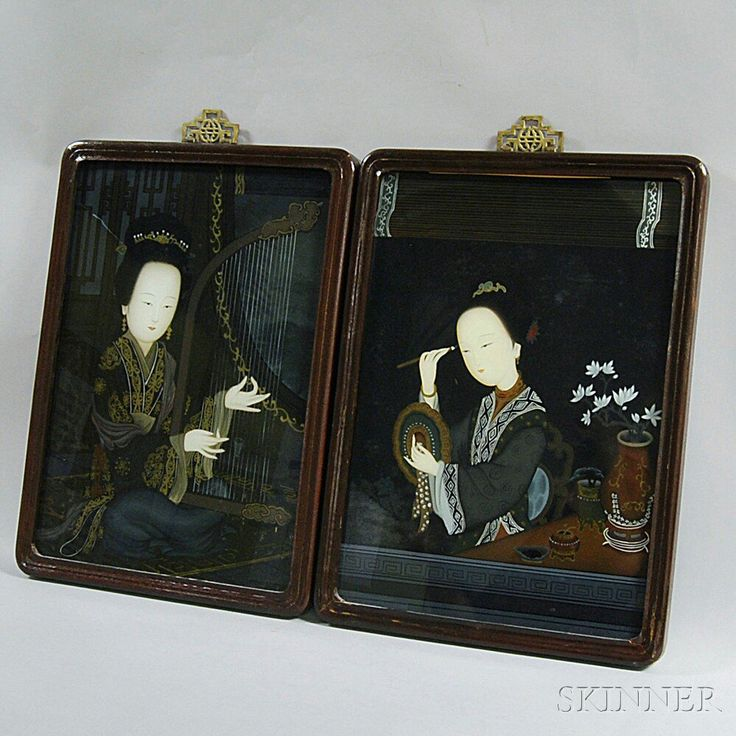 Two Chinese Reverse Glass Paintings: