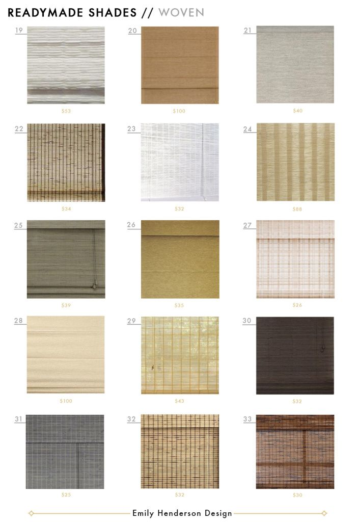 Ready made shades roman woven roller blinds full roundup grid Emily Henderson design WOVEN SHADES