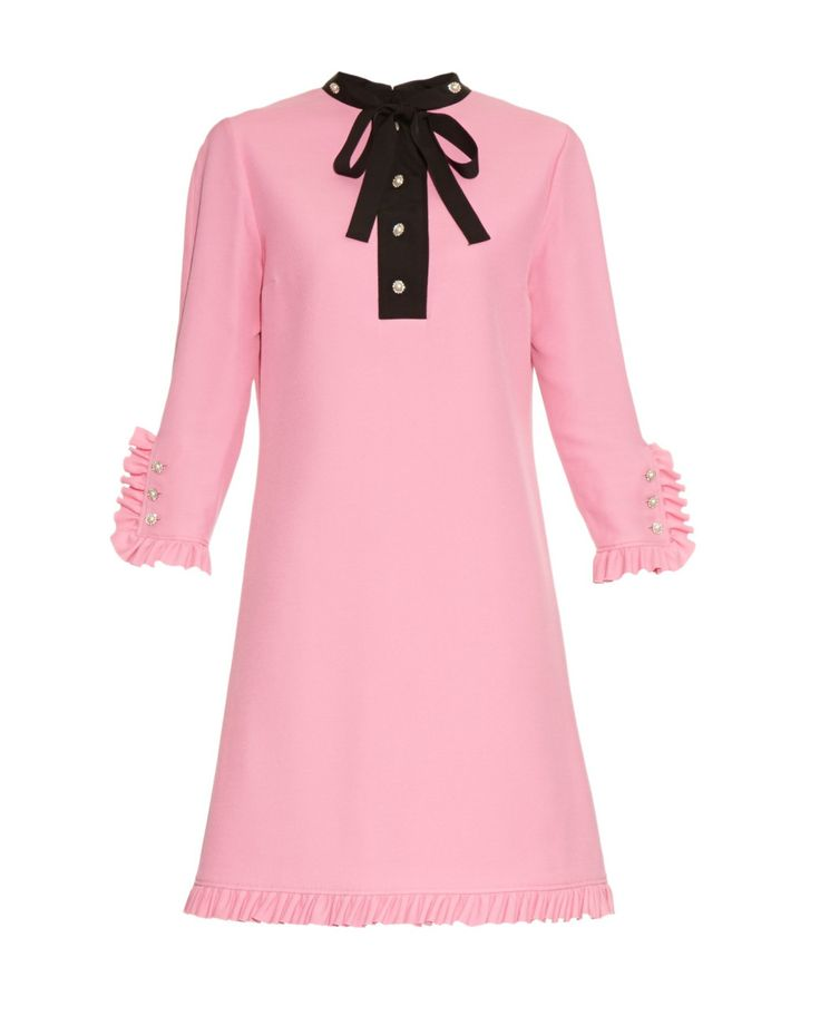 Gucci | Pink Swarovski Crystal-Buttoned Ruffle Dress | Lyst