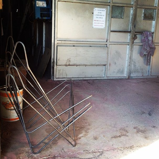 Our raw steel frames at Billman's Foundry ready to be sandblasted. {www.TheButterflyChair.com.au — Made in Castlemaine}