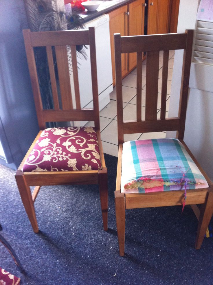 Before an after recovered dinning chairs x6