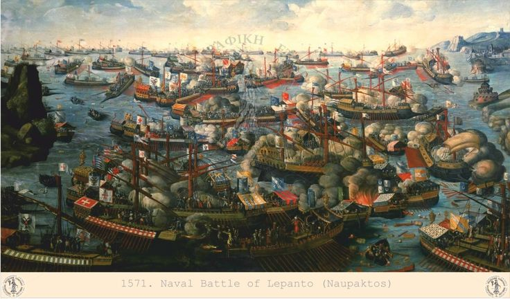 A portrail of the glorious naval battle of Lepanto (1571).
