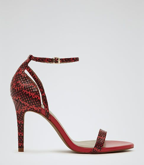 Womens Red Single Strap Sandals - Reiss Malva