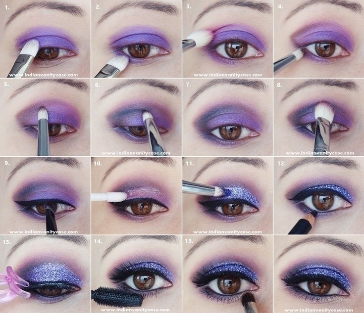 Try purple glitter eyes for your next night out!