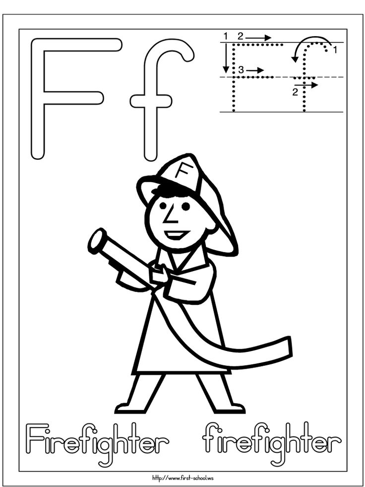 Firefighter coloring page for F week. Letter F