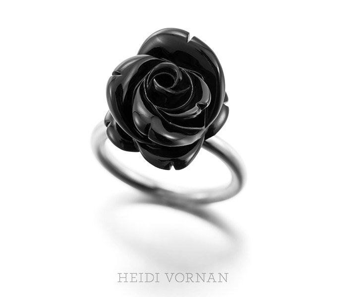 Unique white gold ring with black hand carved onyx by HeidiVornan on Etsy