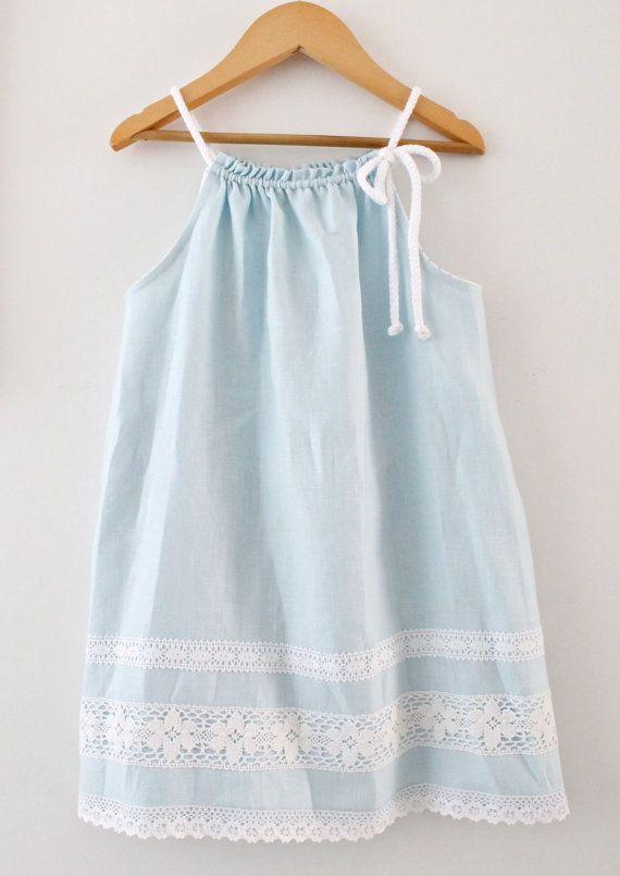 Toddler Girls Linen Easter Dress Aqua BlueSummer by ChasingMini