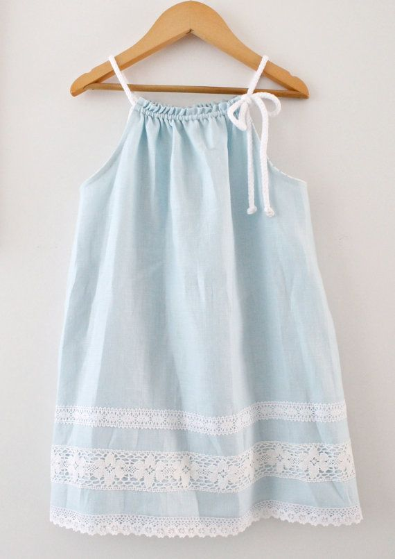 toddler girls linen dress aqua blue summer tunic beach. Black Bedroom Furniture Sets. Home Design Ideas