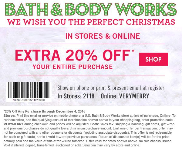 It's almost impossible not to save money at Bath & Body Works. They offer new discounts on a daily basis, which typically include coupons for 25 percent off or free gift items which can be redeemed online and in stores. They also run