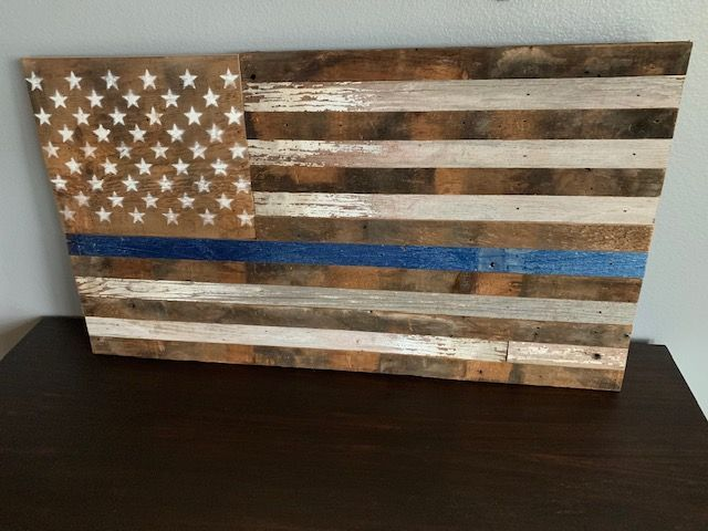 This Is The Thin Blue Line Variation Of Our Barn Wood American Flag Only The Blue Line And Stars A Barn Wood American Flag Barn Wood Flags American Flag Wood