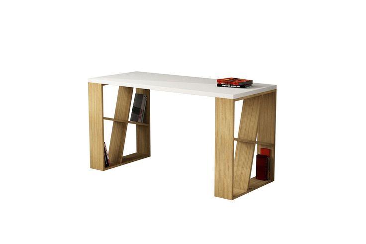 Γραφείο Honey σε λευκό/φυσικό με ράφια 140x60x75εκ. 119-000052