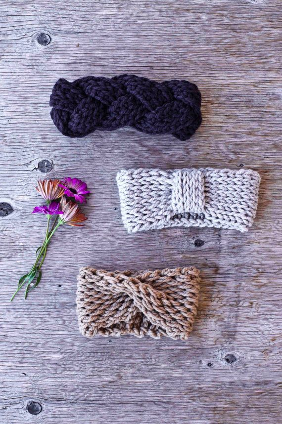 URBAN HEADBAND oatmeal chunky crochet headband earwarmer by kove