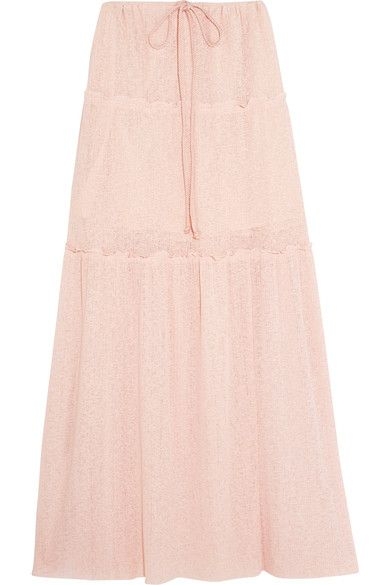 See by Chloé - Tiered Stretch-knit Maxi Skirt - Pastel pink -